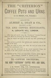 Advert for coffee pots & urns